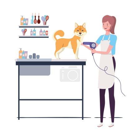 Illustration pour Jeune femme avec chien dans le toiletteur animal vecteur illustration design - image libre de droit