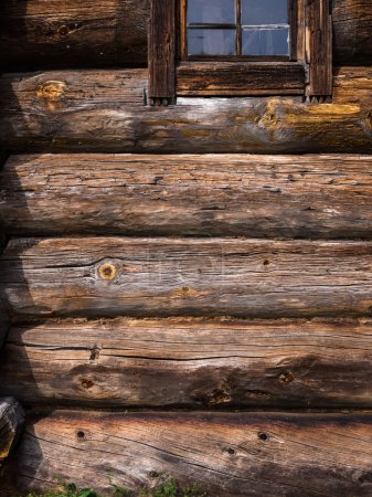 Photo for Elements of old rustic house made of wooden logs - Royalty Free Image