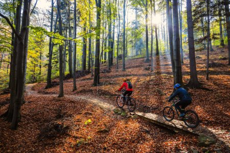 Photo for Cycling woman and man at Beskidy mountains autumn forest landscape. Couple riding MTB enduro track. Outdoor sport activity. - Royalty Free Image