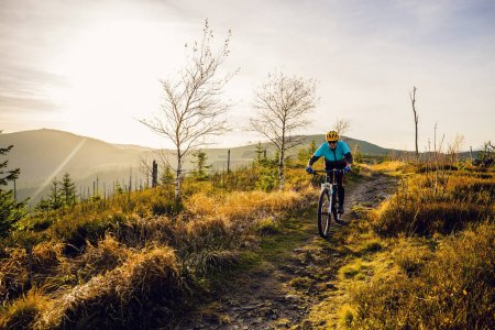Photo pour Femme cycliste à vélo dans les montagnes paysage forestier d'automne. Femme vélo VTT piste de flux. Activité sportive de plein air . - image libre de droit