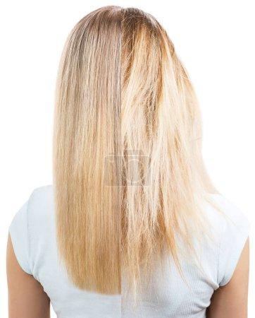 Photo pour Cheveux blonds avant et après le traitement. Isolé sur fond blanc . - image libre de droit