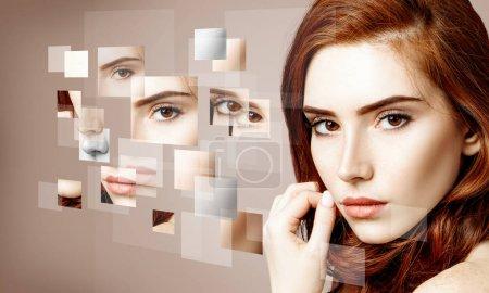 Foto de Cara de las mujeres recogidos de diferentes partes. Sobre fondo beige . - Imagen libre de derechos