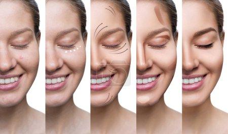 Photo pour Collage de la femme appliquant le maquillage étape par étape. Sur fond blanc . - image libre de droit