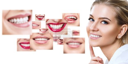 Photo for Young woman near collage with health teeth. Over white background. - Royalty Free Image