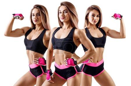 Photo pour Collage de la femme en vêtements de sport a démontré son corps sportif musculaire. Isolé sur fond blanc . - image libre de droit