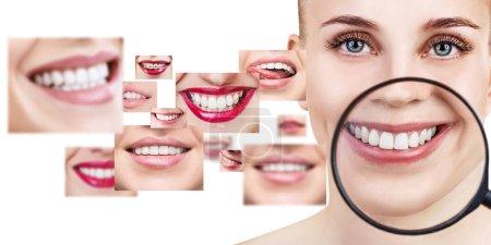 Photo pour Jeune femme près du collage avec des dents de santé. Sur le fond blanc. - image libre de droit