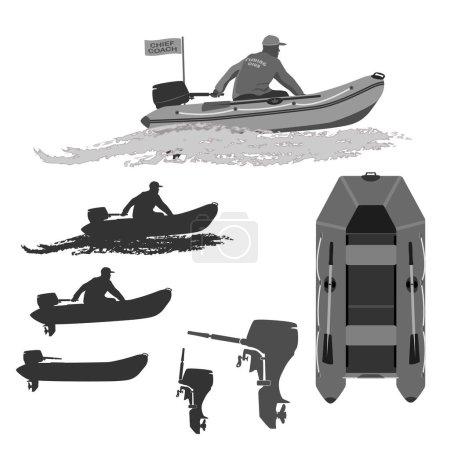 Illustration pour Entraîneur-chef du club pêcheurs promenades sur un bateau en caoutchouc avec un motor.set de silhouettes. illustration totalement vectorielle - image libre de droit
