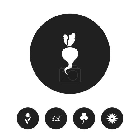 Set of 5 editable gardening icons. Includes symbols such as clover, grass, daphne and more. Can be used for web, mobile, UI and infographic design.