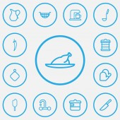Set of 13 editable food icons line style Includes symbols such as knife coffee machine ice and more Can be used for web mobile UI and infographic design