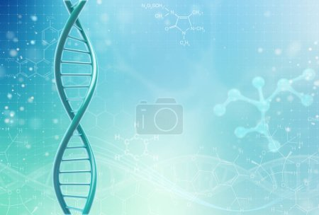 Photo for Concept of biochemistry with dna molecule on color background. Science concept background. 3 d render. - Royalty Free Image