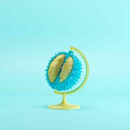 Photo pour Concept d'idée globale Durian sur fond bleu de couleur pastel. concept minimal d'idée - image libre de droit
