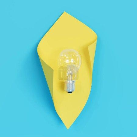 Photo pour Ampoule lumineuse sur fond bleu avec forme courbe jaune. Expéditeur 3D. - image libre de droit