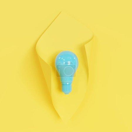 Photo pour Ampoule bleue sur fond jaune. Expéditeur 3D. - image libre de droit
