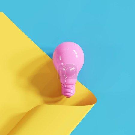 Photo pour Ampoule rose sur fond jaune demi-bleu. Expéditeur 3D. - image libre de droit