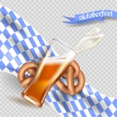 Realistic advertisement template splash of foam and beer from a glass cup Bretzel Bavarian flag national German tradition Oktoberfest stock illustration