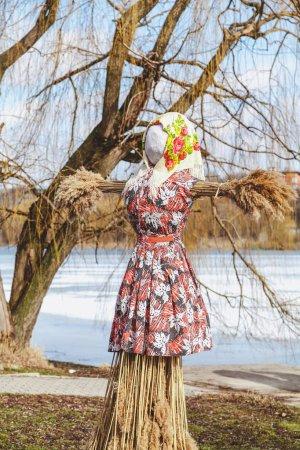 Photo pour Vacances slaves de la fin de l'hiver. Une grande poupée Shrovetide faite de paille dans la robe et l'écharpe d'une femme se tient sur la rive de la rivière. En arrière-plan un saule sans laisser - image libre de droit