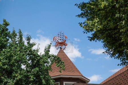 Photo pour Girouette plat sous la forme d'un navire sur un toit de tuiles contre un sk bleu nuageux - image libre de droit