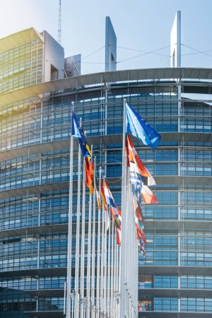 All EU Flag European Union flag waving in front of European Parl
