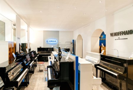Musical instrument store with luxury piano and grand piano by re