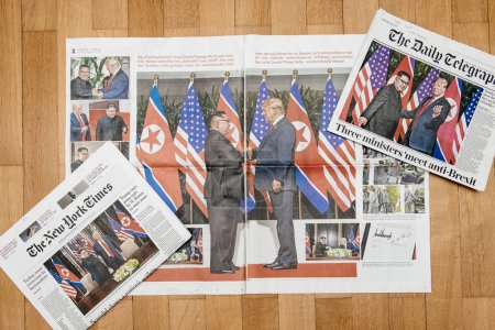 Multiple International newspapers with cover Trump-Kim