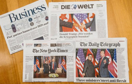 INternational press about Trump-Kim summit meeting