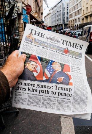 U.S. President Donald Trump meeting North Korean leader Kim Jong