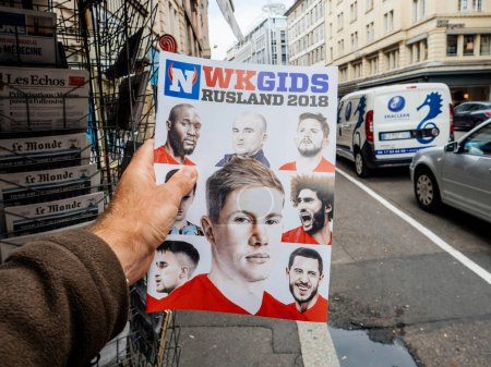 magazine with faces of know football stars
