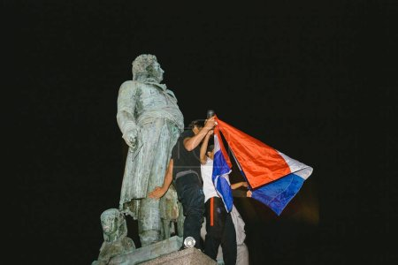 STRASBOURG, FRANCE - JULY 10, 2018: Unique French celebration after the victory of France qualify for the final of the 2018 FIFA World Cup after their victory over Belgium 1-0