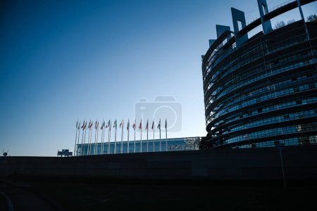Photo for Silhouette of European Parliament building with all EU members state flags waving newsworthy image blue toned image for news - Royalty Free Image