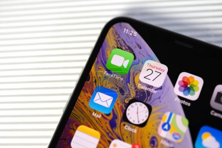 New iphone Xs Max with all home apps white background,