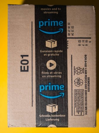 Amazon Prime cardboard box delivery with seal scotch tape