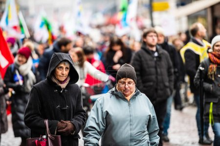 Protest against Macron French government string of reforms senio
