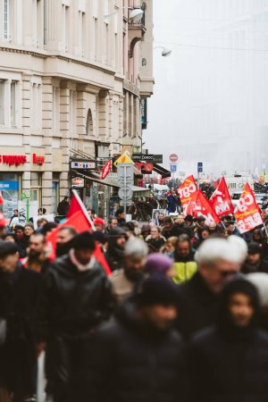 Photo for STRASBOURG, FRANCE - MAR 22, 2018: CGT General Confederation of Labour protest in France with large crowd of workers with placard at demonstration protest against Macron French government string of - Royalty Free Image