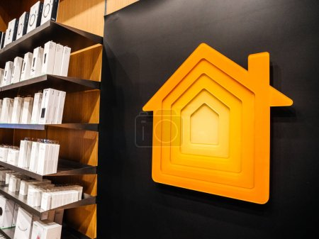 Photo for PARIS, FRANCE - OCT 25, 2018: Embossed plastic HomeKit logotype inside Apple Store. HomeKit is a software framework by Apple that lets users set up their iOS Device to control smart-home appliances - - Royalty Free Image