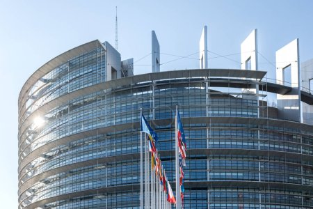Photo for Strasbourg, France - June 6, 2018: All European Union members states flags in front of European Parliament building on a clear blue sky day before European elections 2019 photograph to illustrate - Royalty Free Image