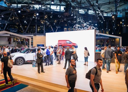 Photo for PARIS, FRANCE - OCT 4, 2018: Visitors people admiring the new luxury Citroen C3 at International car exhibition Mondial Paris Motor Show, model produced French car maker - Royalty Free Image