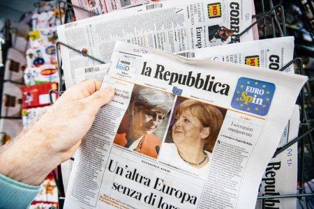 picture of Theresa May and Angela Merkel Italian press