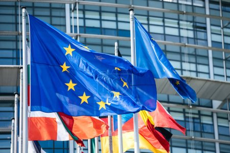 Photo for Close-up flags of all member states of the European Union waving in calm wind in front of the Parliament headquarter on the day of 2019 European Parliament election. - Royalty Free Image