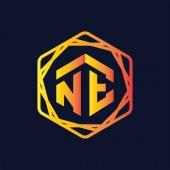 NE Initial letter hexagonal logo vector