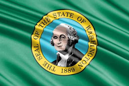 beautiful colorful waving flag of Washington state, USA