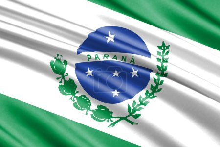 beautiful colorful waving flag of Parana  state, Brazil