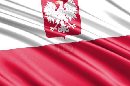 beautiful colorful waving flag of Poland with Coat of Arms