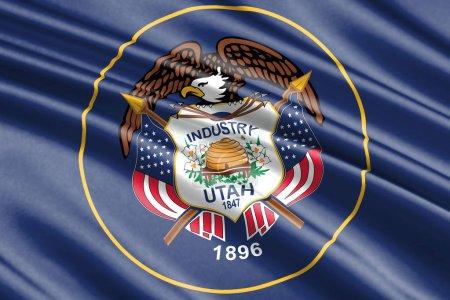 beautiful colorful waving flag of Utah state, USA