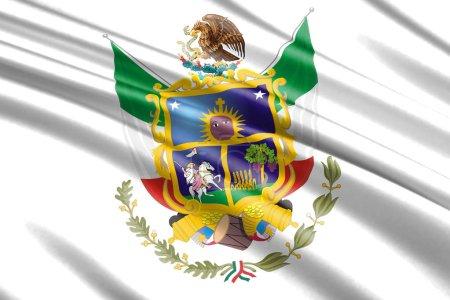 Photo pour Beau drapeau ondulant coloré de Quertaro État, Mexique - image libre de droit