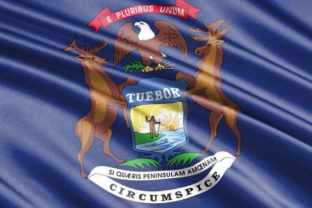 beautiful colorful waving flag of Michigan state, USA
