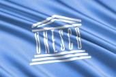 beautiful colorful waving flag of UNESCO