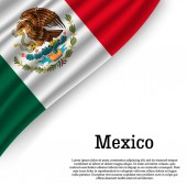waving flag of Mexico on white background Template for independence day vector illustration