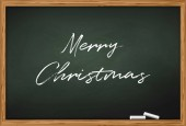 Colorful vector illustration of blackboard with two pieces of chalk and inscription Merry Christmas