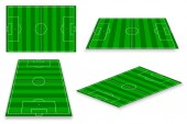 Colorful vector illustration of green playing sport fields over white background
