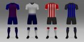 Set of 3D realistic template soccer jersey Barcelona Tottenham PSV Inter t-shirt with pants and socks on shop backdrop Mockup of football team uniform
